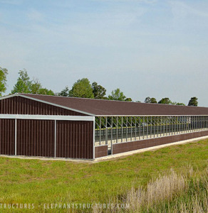 Large metal horse riding arena.