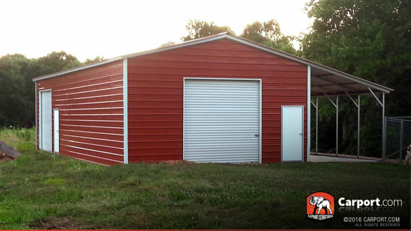 A custom metal garage.