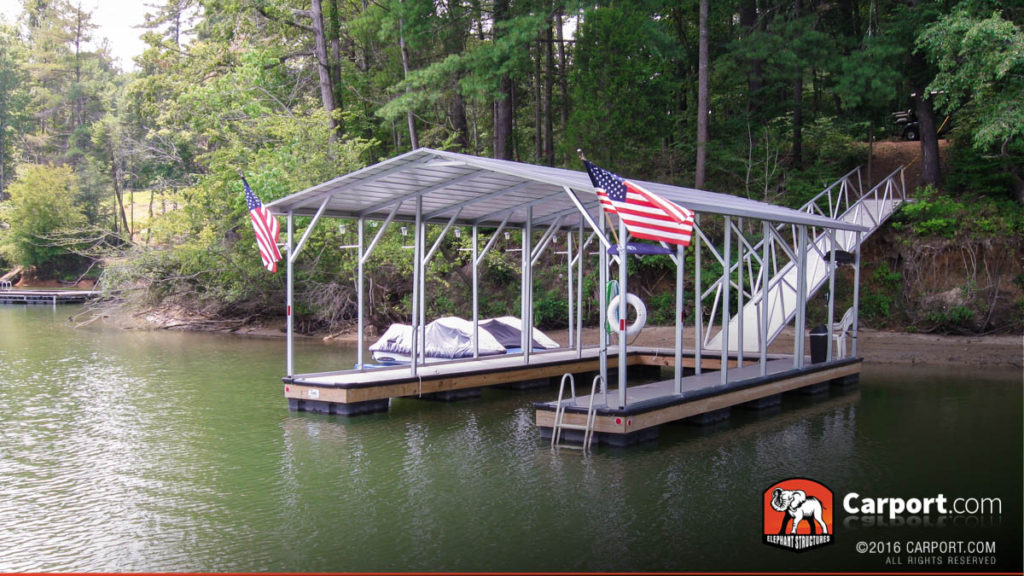 Install a custom metal carport on your boat dock.