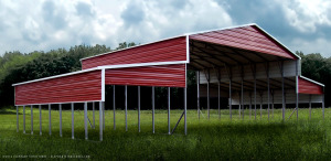 Metal barn with open sides.