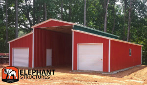 Ridgeline style barn with two fully enclosed lean to's.