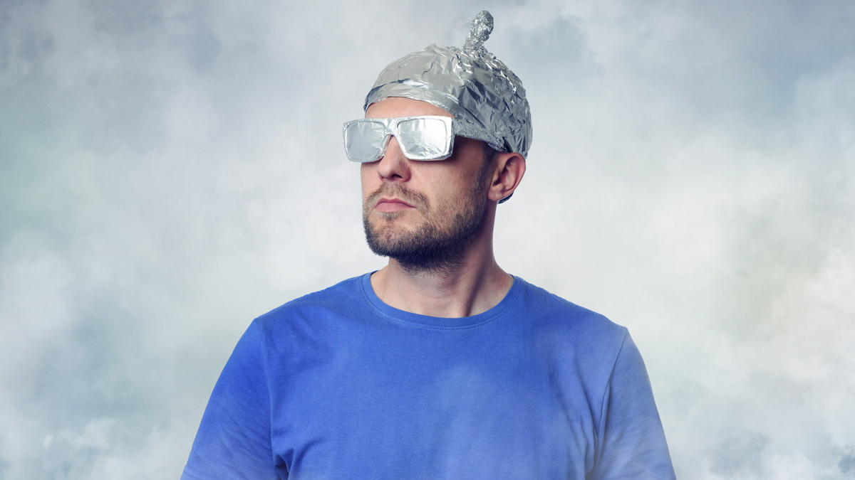 Neighbor With Aluminum Foil Cap And Sun Glasses Mr