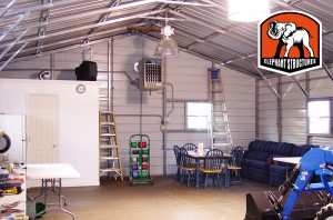 Metal Garage Interior with Concrete Floor.