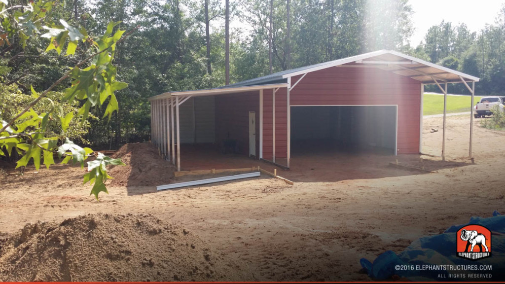 Metal building with lean to, utility shed, and roll up garage door