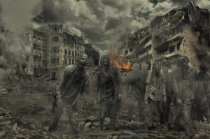 zombies stand in the war torn streets facing the camera or bug out shelter
