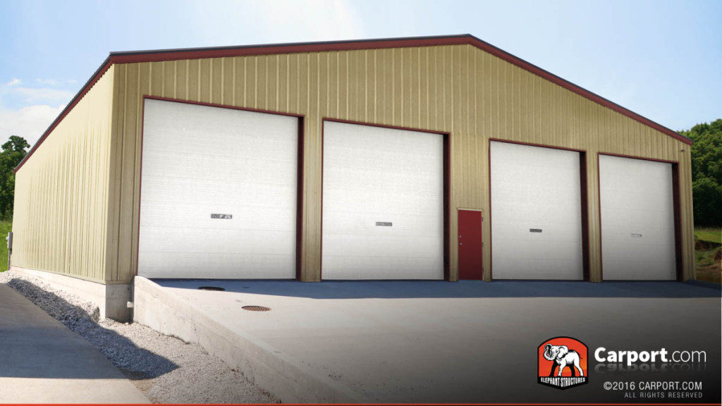 A custom metal warehouse with four garage doors.