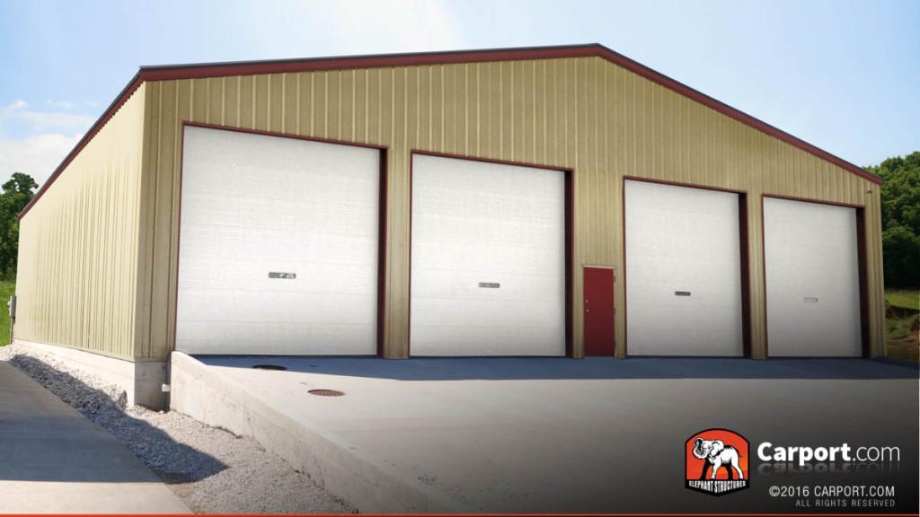 A custom metal warehouse with four garage doors